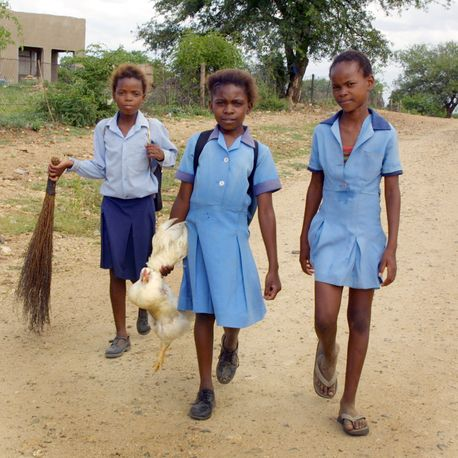 Child carrying chicken, Nkomazi, South Africa